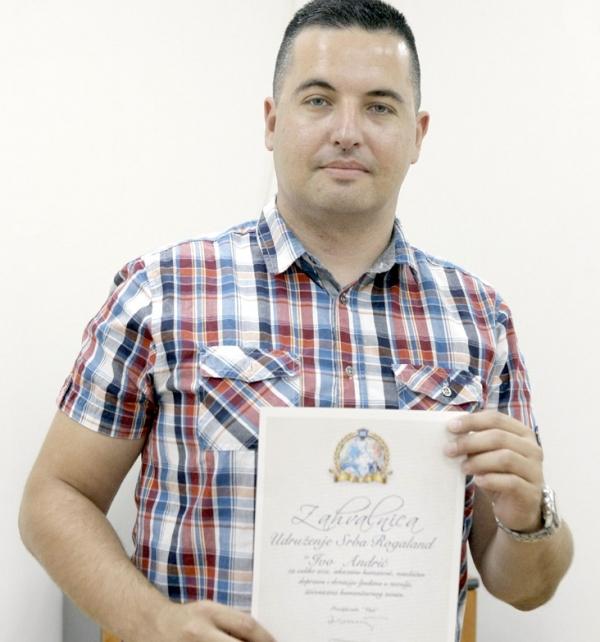 Foto: A. Čukić - Priznanje Srbima iz Norveške: Nikola Lazarević u